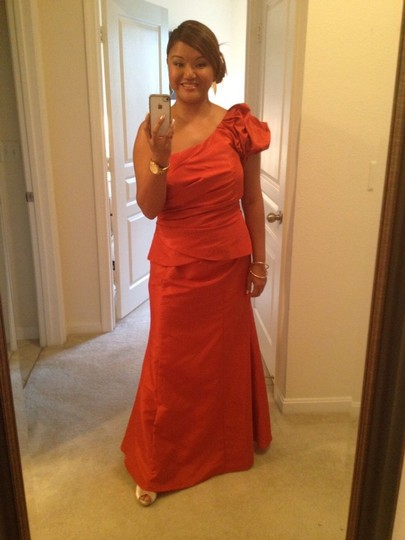 Alfred Angelo Orange 7216 Formal Bridesmaid/Mob Dress Size 10 (M) Image 2