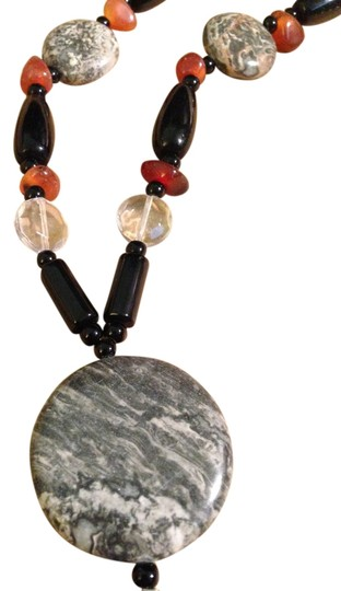 Preload https://img-static.tradesy.com/item/8381524/mixed-vintage-hand-crafted-1980s-polished-black-clear-glass-beads-tumbled-amber-nuggets-marble-discs-0-1-540-540.jpg