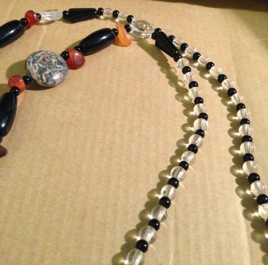 Other Vintage Hand Crafted 1980s Polished Black Clear Glass Beads Tumbled Amber Nuggets Marble Discs Long Tassel Fringe Single Strand Lanyard Necklace