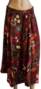 Dries van Noten Wool Skirt burgundy /teal /beige / mauve