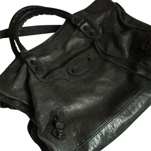Balenciaga Handbag Leather Satchel in Dark Grey