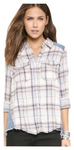 Free People Anthropology Button Down Shirt Swan Combo