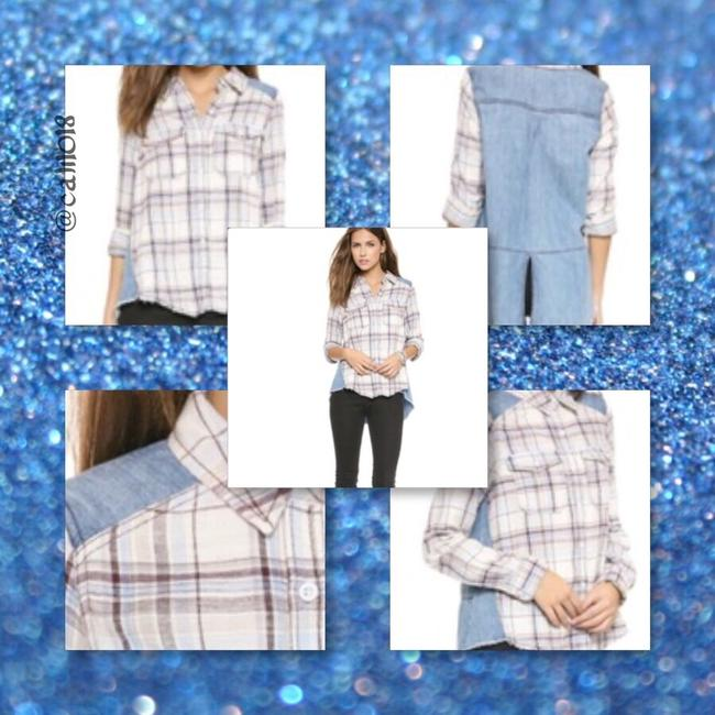 Free People Anthropology Hippie Vintage Denim Chambray Jean Button Up Gypsy Women Boutique Oversize Junior Graduation Gift School Button Down Shirt Swan Combo