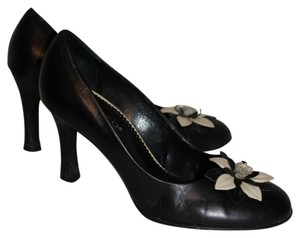 Franco Sarto Black with Cream Flower Pumps