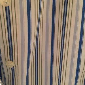 J.Crew Stripe Cotton Preppy Classic Button Down Shirt White/Blue/Green