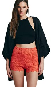 Free People Lace Pink Coral Side Zip Mini/Short Shorts Dragon Fruit