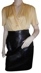 Escada Leather Germany Mini Skirt Black