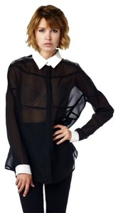 Button-up Sheer Top Black
