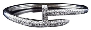 Unisex Sterling Silver Lab Diamond Hammer Nail Bangle In White Gold Finish