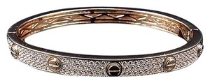 Unisex Sterling Silver Lab Diamond Designer Style Bangle In Rose Gold Finish