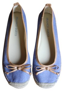 Franco Sarto Blue with leather Trim and Straw bottom Flats