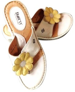 Børn Leather Yellow Flower Summer Designer Comfortable Sandal Thong Chic Fun Ivory Wedges