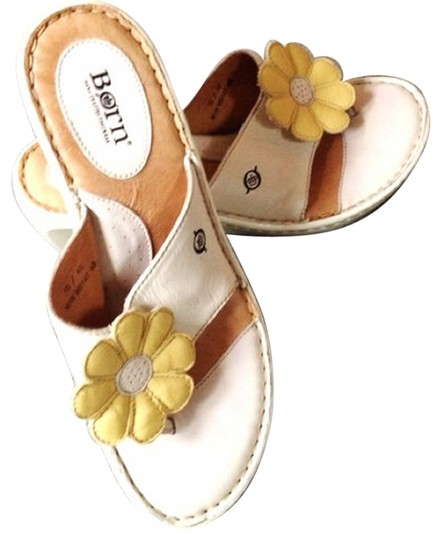 Preload https://img-static.tradesy.com/item/838634/born-ivory-and-yellow-leather-flower-thong-sandals-wedges-size-us-10-regular-m-b-0-0-540-540.jpg