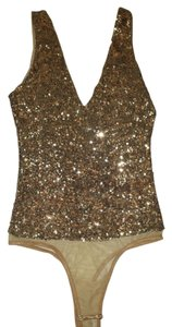 bebe Embellished Sequin Bodysuit Sequin Top Gold