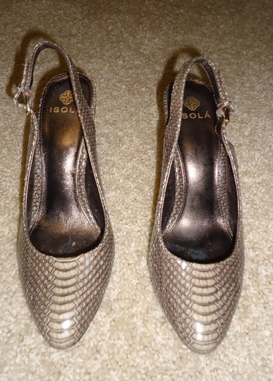 Isola Slingback Brown Snakeskin Pumps
