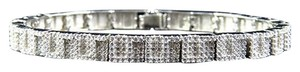 White Gold Over Sterling Silver Simulated Diamond Link Style Bracelet
