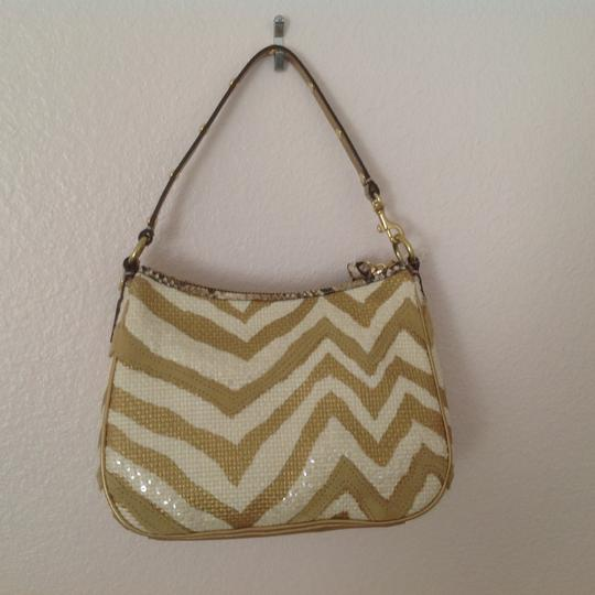 Coach Natural with gold accents Clutch