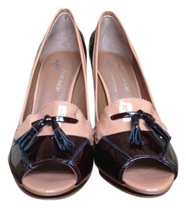 Donald J. Pliner Black ( deep Black-cherry) and Tan Patent leather Platforms