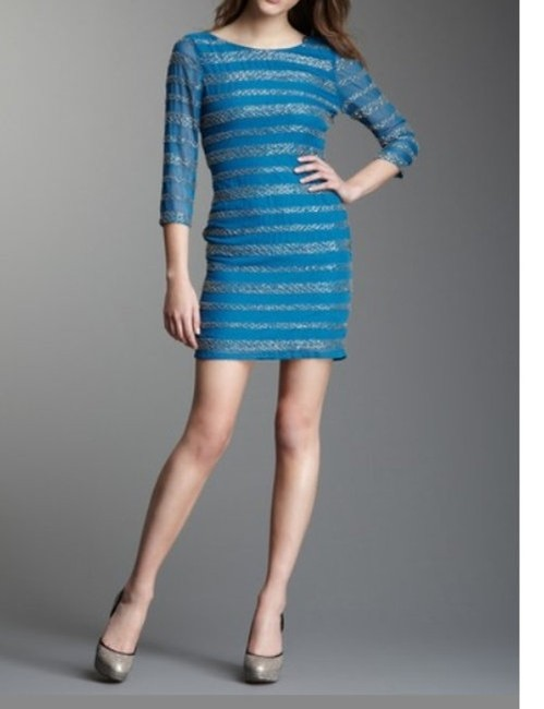Romeo & Juliet Couture Beaded Low Back 3/4 Sleeve Designer Classy Chic Date Girls Beads Scoop Neck Dress