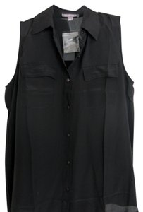 Tinley Road Silk Sleeveless Tank Button Down Shirt Black