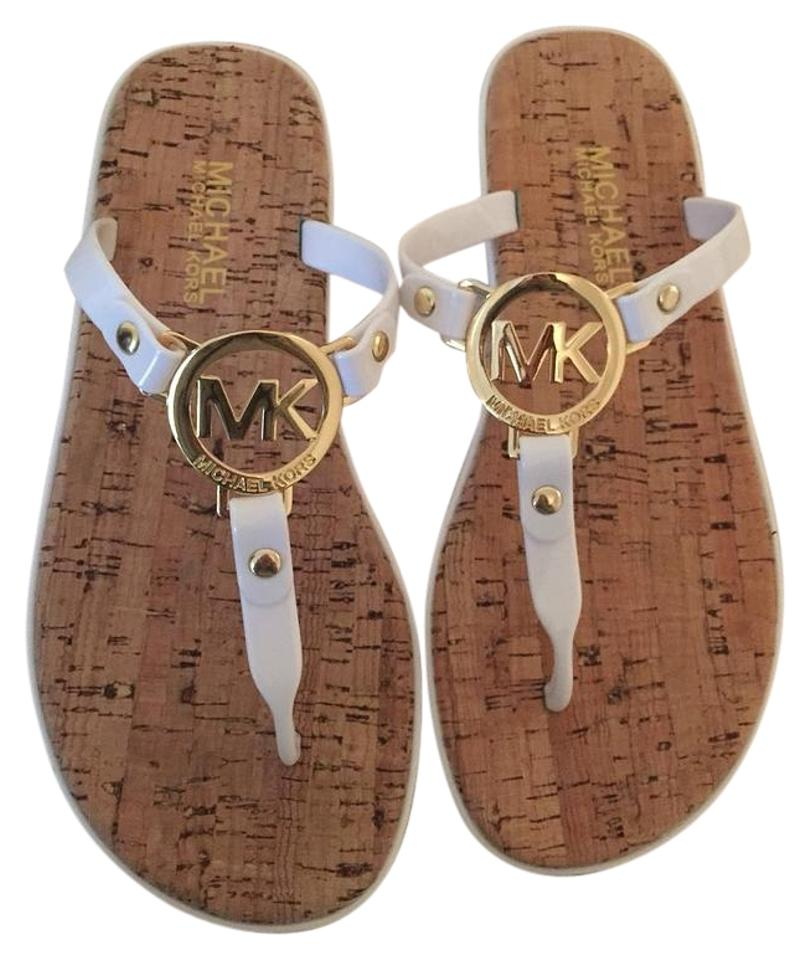 186f6724cb13 Michael Kors White Jet Set Charm Jelly Cork Flip Flop Sandals Size ...