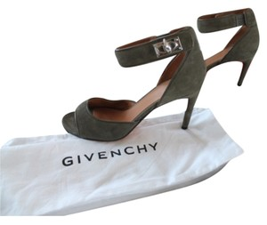Givenchy Shark Tooth Suede Army Green Sandals