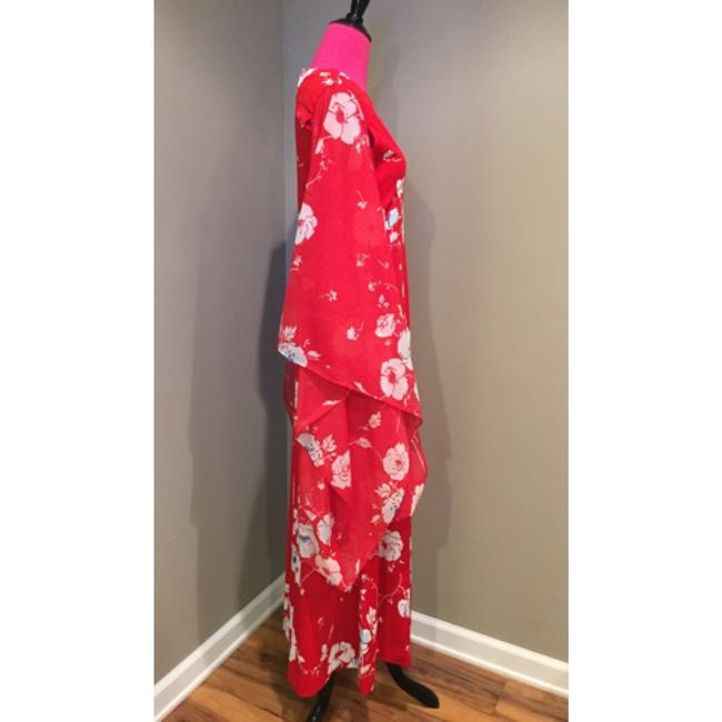 Other Kimono Maxi Long Rare Amazing Date Night 70's Handmade Floral Sheer Sleeves Unique Prom Weddings Special Events Chic Dress