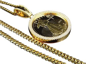 Mens Yellow Gold Sterling Silver Custom Lab Diamond Liberty Coin Pendant Chain