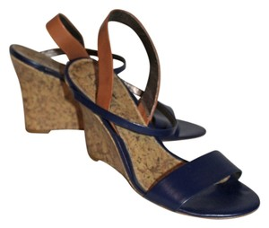 Ann Taylor LOFT Blue and Brown Leather Wedges