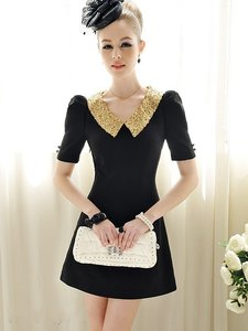 Avatar Imports Sequ Sequin Gold Peter Pan Collar Sleeves Dress