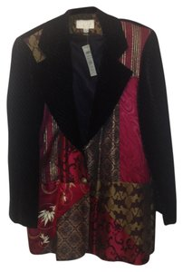 Cache Black Velvet with Multi-Color silks Blazer