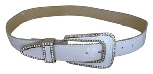 Leather white belt, embellished with crystal buckle and beads, new