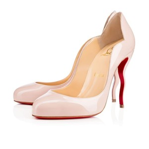 Christian Louboutin Stiletto Red Sole Patent Leather Wawy Nude Pumps
