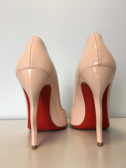 Christian Louboutin Stiletto Red Sole Patent Leather Wawy Nude Pumps Image 3