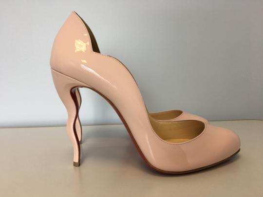 Christian Louboutin Stiletto Red Sole Patent Leather Wawy Nude Pumps Image 4