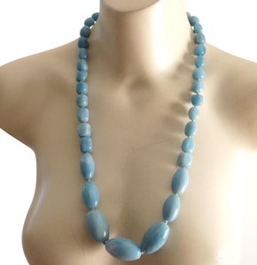 Other Chunky Vintage Sterling Amazonite Oval Bead Runway Necklace