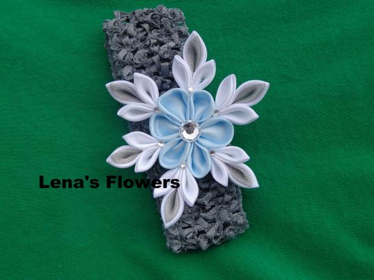 Other Snowflake Flower on elastic crochet. Winter Hair accessories. Image 4