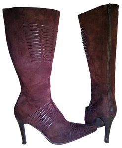 Kenneth Cole Suede Leather High Heel Slim Heel Chocolate Brown Boots