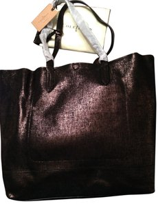 Cole Haan Leather Haven Strap Strappy Textured Tote in Black