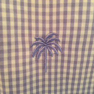 Lilly Pulitzer Checkered Spring Preppy Classic Button Down Shirt Purple and White Gingham
