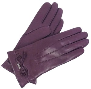 Coach Coach F85229 Women's Bow Leather Merino Wool Lined Gloves Size 6 1/2