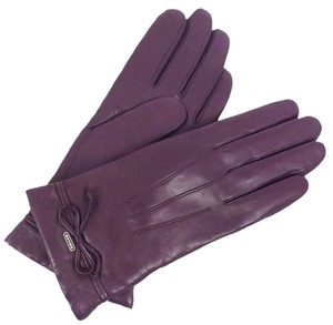 Coach Coach F85229 Women's Bow Leather Merino Wool Lined Gloves Size 7