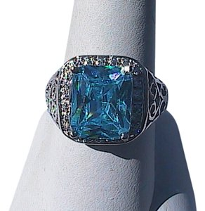 Other White Gold Filled Lab-Created Blue Topaz Ring (#36)