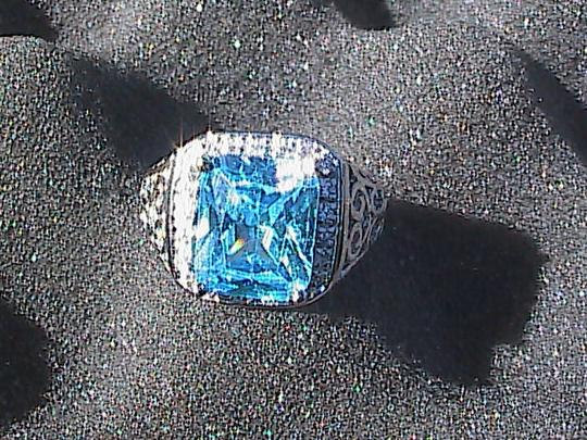 Other White Gold Filled Lab-Created Blue Topaz Ring (#36) Image 1