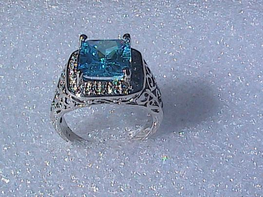 Other White Gold Filled Lab-Created Blue Topaz Ring (#36) Image 2