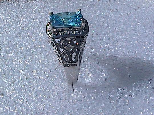 Other White Gold Filled Lab-Created Blue Topaz Ring (#36) Image 3