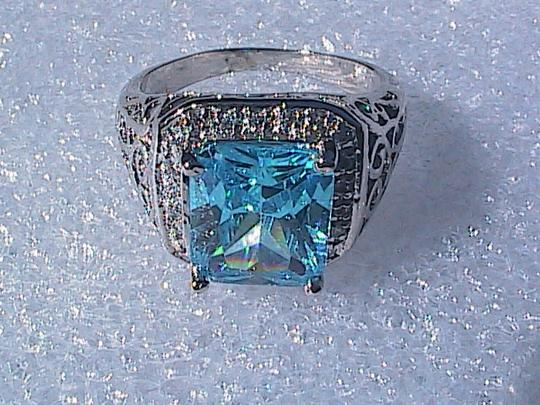 Other White Gold Filled Lab-Created Blue Topaz Ring (#36) Image 6