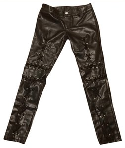 Faux Leather Tie Up Back Straight Pants