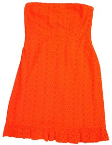 Old Navy short dress red / orange Strapless Eyelet Side-zipper Boning Elastic on Tradesy