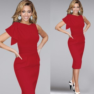 VfEmage Women Elegant Ruffle Sleeve Ruched Wear Fitted Stretch Slim Wiggle Party Evening Work Dress